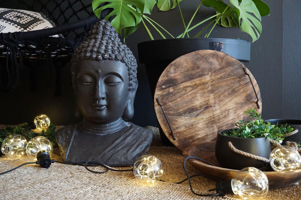 Buddha hode, 47 cm, sort