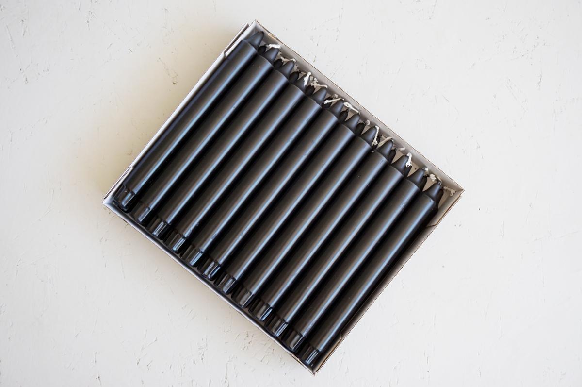 Ren stearinlys 24 cm, 24 pk, Sort
